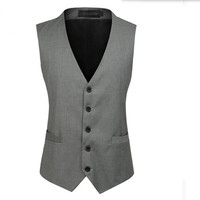 Traje ma3 jia3 gris y negro hombres chaleco elegante esmoquin chaleco hecho a medida del novio partido prom vestido chaleco