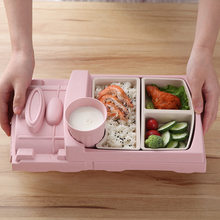 Children Kids Train Cutlery Set Bamboo Fiber Environmental Health Baby Plate Gift Toddle Dinnerware Set Lunch Container(China)
