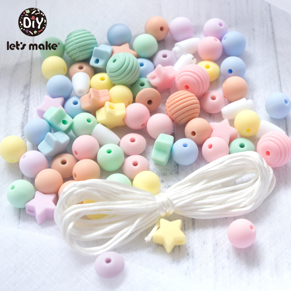 Let'S Make 20Pc 50Pc 100Pc Screw Thread Carved Shaped Silicone Teether Beads Set Star Tiny Rod Diy Bead Combination Baby Teether