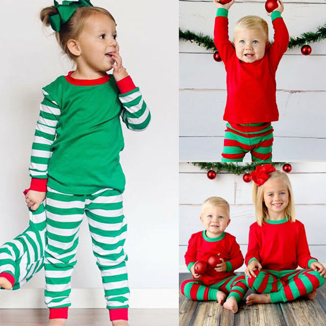 Baby Kids Boys Girls Xmas Stripe Sleepwear Nightwear Homewear Children  Christmas Striped Pajamas Pjs Set Clothing a100b7fd5