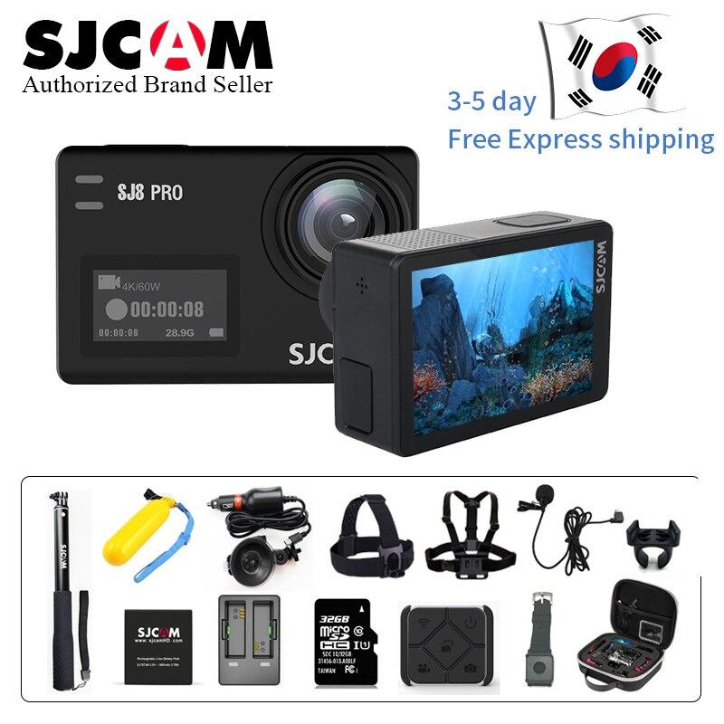 Stock! SJCAM SJ8 Pro 4 k 60fps Sport Caméra Étanche Anti-Shake Double Écran Tactile 8 * Numérique Zoom WiFi télécommande D'action DV