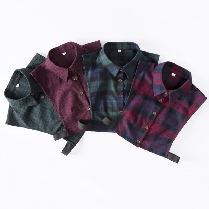 Fashion Spring Autumn Unisex Wild Cotton Brushed Plaid Shirt Fake Collar Decoration Men Women Fake Suit Shirt Side Collar M L