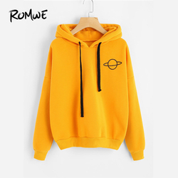 ROMWE Planet Print Drop Shoulder Hoodie Women Yellow Pullovers  Spring Autumn Ladies Hooded Full Sleeve Sweatshirt 1