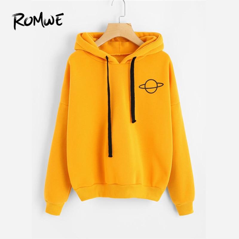ROMWE Planet Print Drop Shoulder Hoodie Women Yellow Pullovers Spring Autumn Ladies Hooded Full Sleeve Sweatshirt