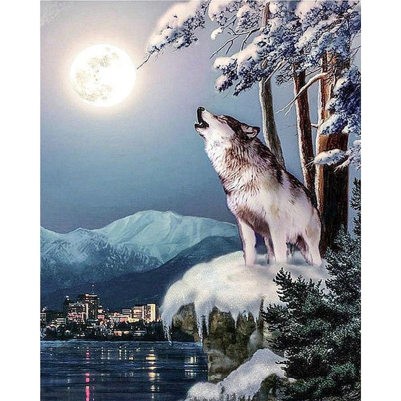 5D Diy Diamond Painting, Wolf Howl en la luna, Picture By - Artes, artesanía y costura