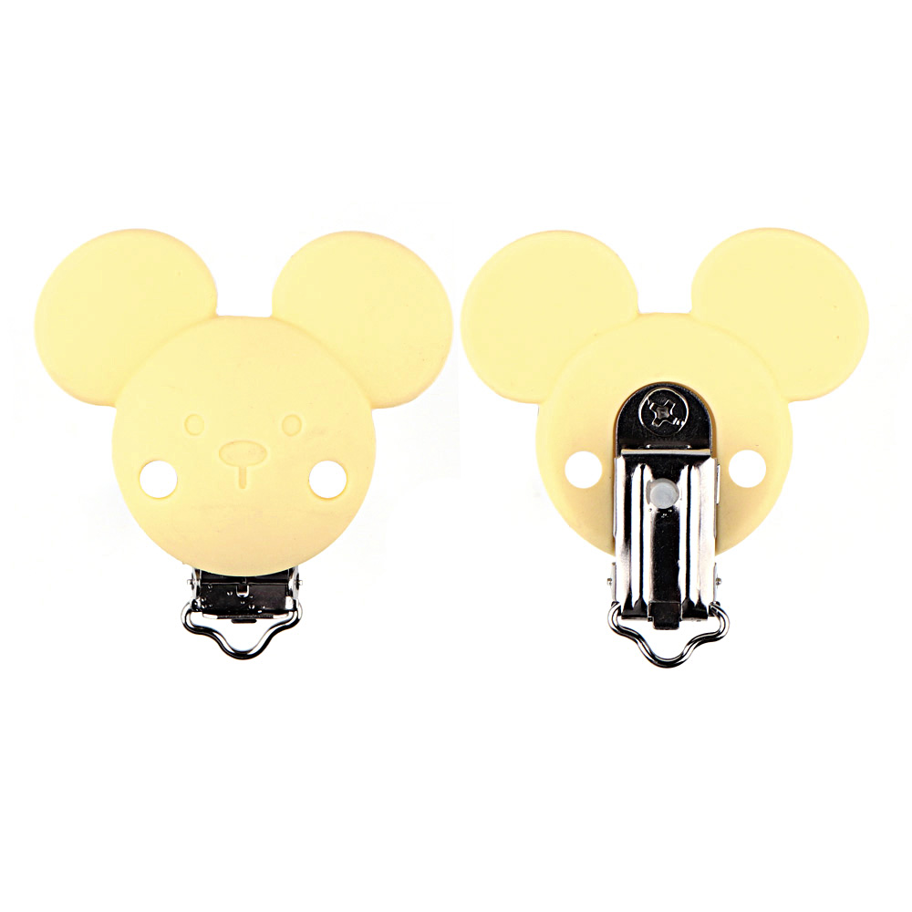 TYRY.HU 10pc Cartoon Mickey Pacifier Clip Silicone Teething Bead Baby teether Accessories Clip Clasp Toy DIY Pacifier Chain Tool
