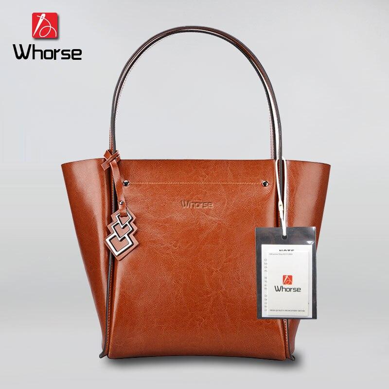 [WHORSE] Brand Women Genuine Leather Shoulder Bag Ladies Handbag Designer Handbags High Quality Large Capacity Casual Tote W0828 leather handbag bag killer diagonal fashion large casual handbag designer handbags high quality
