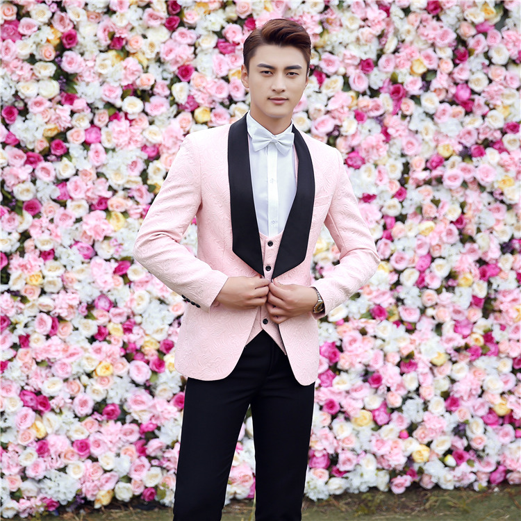 FOLOBE Stock Fashion White/Pink/Red Jacquard Slim Fit Mens Wedding Suits Groom Formal Suits 3PCS Black Pants Tuxedo Jacket