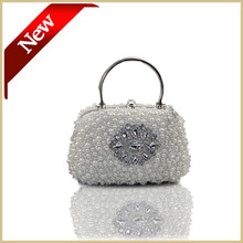 Frauen Perlen Perle Handtasche mit Griff Schönheit Hochzeit Handtasche Abendgesellschaft Tasche mit Lange Kette Weiß