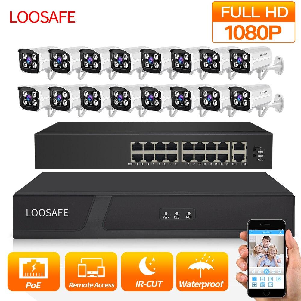 Kit LOOSAFE 1080P HDMI POE NVR système de sécurité CCTV DVR 16 pièces enregistrement Audio caméra IP P2P Kit de caméra de sécurité vidéo 1 to HDD