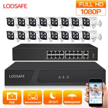 LOOSAFE 1080P HDMI POE NVR Kit CCTV Security System DVR 16PCS Audio Record IP Camera P2P Video Security Camera Kit Set 2TB HDD ci 8004mls 1 4screen cctv record wifi dvr cctv video record real time home security system with 3g wifi extension via usb port