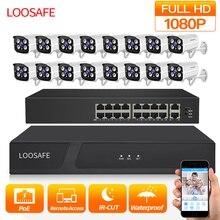 LOOSAFE 1080P HDMI POE NVR Kit CCTV Security System DVR 16PCS Audio Record IP Camera P2P Video Security Camera Kit Set 2TB HDD цена в Москве и Питере