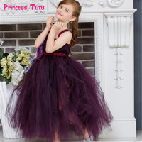 Handmade Tulle Tutu Dress Purple Flower Girl Dresses Princess Costume Kids Pageant Dance Wedding Birthday Bridesmaid Party Dress