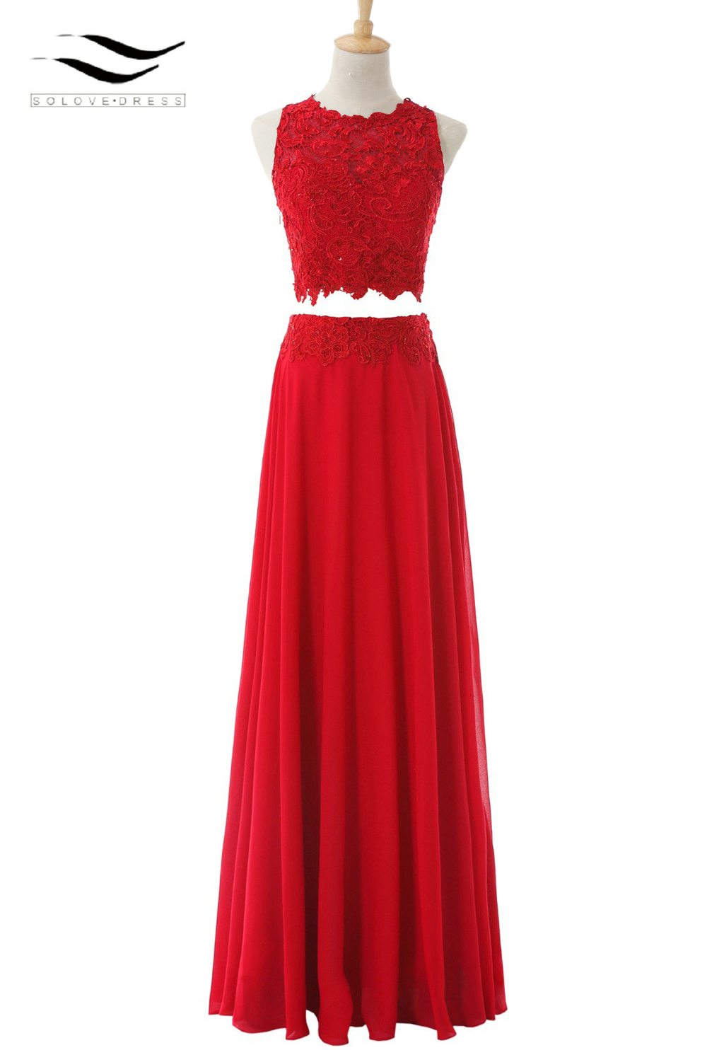 A Line Chiffon O Neck Chifon Long Two Pieces Prom Dress 2017 Red Lace Evening Gown