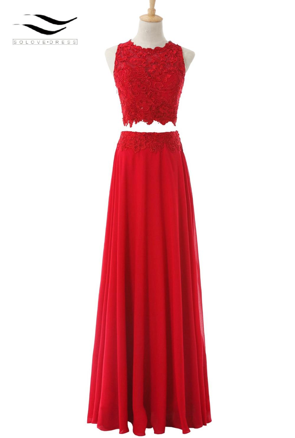 A Line Chiffon O Neck Chifon Long Two Pieces Prom Dress 2017 Red Lace Evening Gown Appliques Vestido De Fiesta Vestidos SL-P329