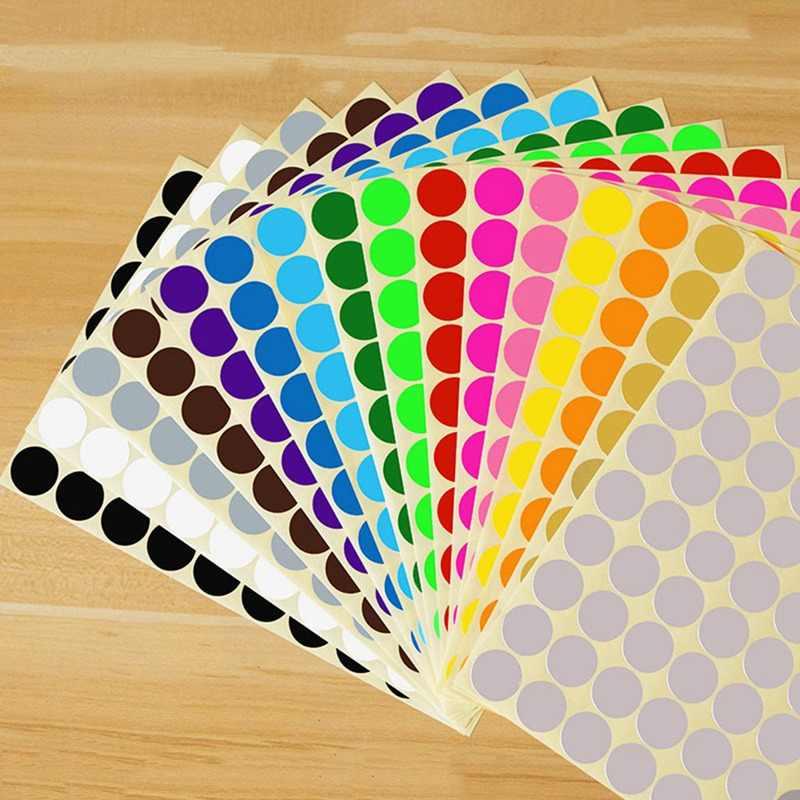 1 pz Colorato Vuoto Carte di Carte di Adesivo per il Vetro Tappo di Bottiglia di Olio Essenziale Coperchio Etichette Vuote Cerchi Rotondi Adesivi