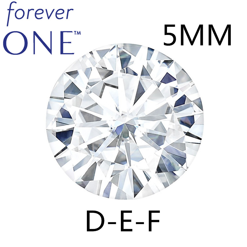 Certificado Charles Colvard Forever One Round Brillante Moissanite Piedras sueltas de diamantes 5 mm 0.41CT DEF Color VVS VS Prueba positiva