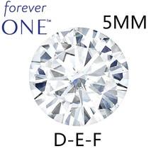 Piedras de diamante sueltas de moissanita, brillante redondo, certificado Charles colgard Forever One, 5mm, 0.41CT, DEF Color VVS