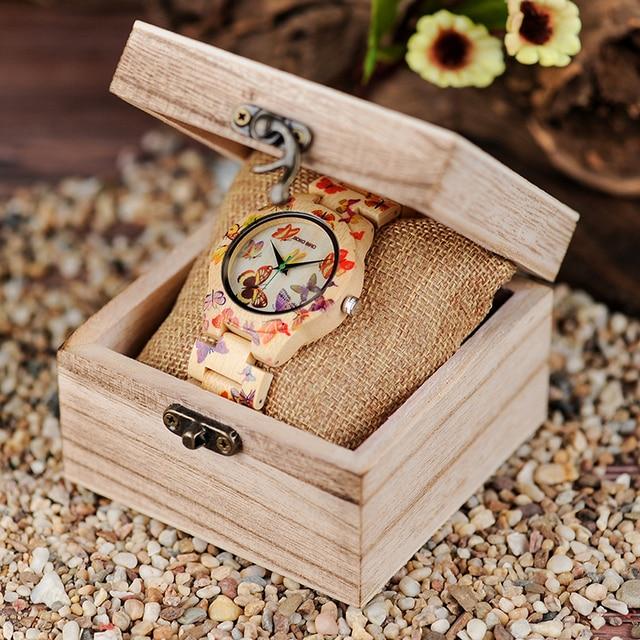 Reloj madera mariposas con caja de madera 3