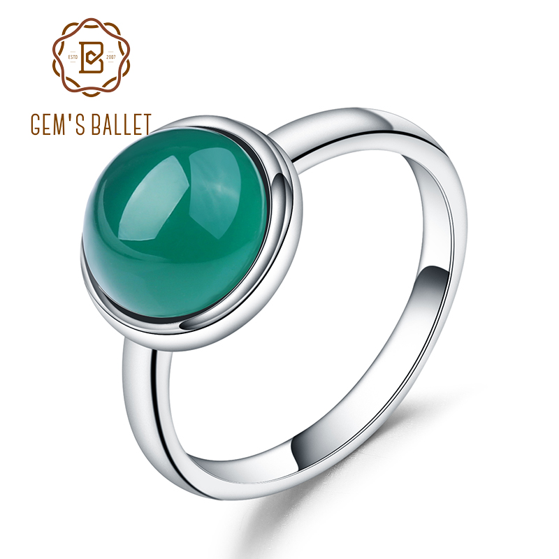 Gem's Ballet Natural Green Agate Gemstone Ring Solid 925 Sterling Silver Green Onyx Rings For Women  Fine Jewelry Bague Bijoux