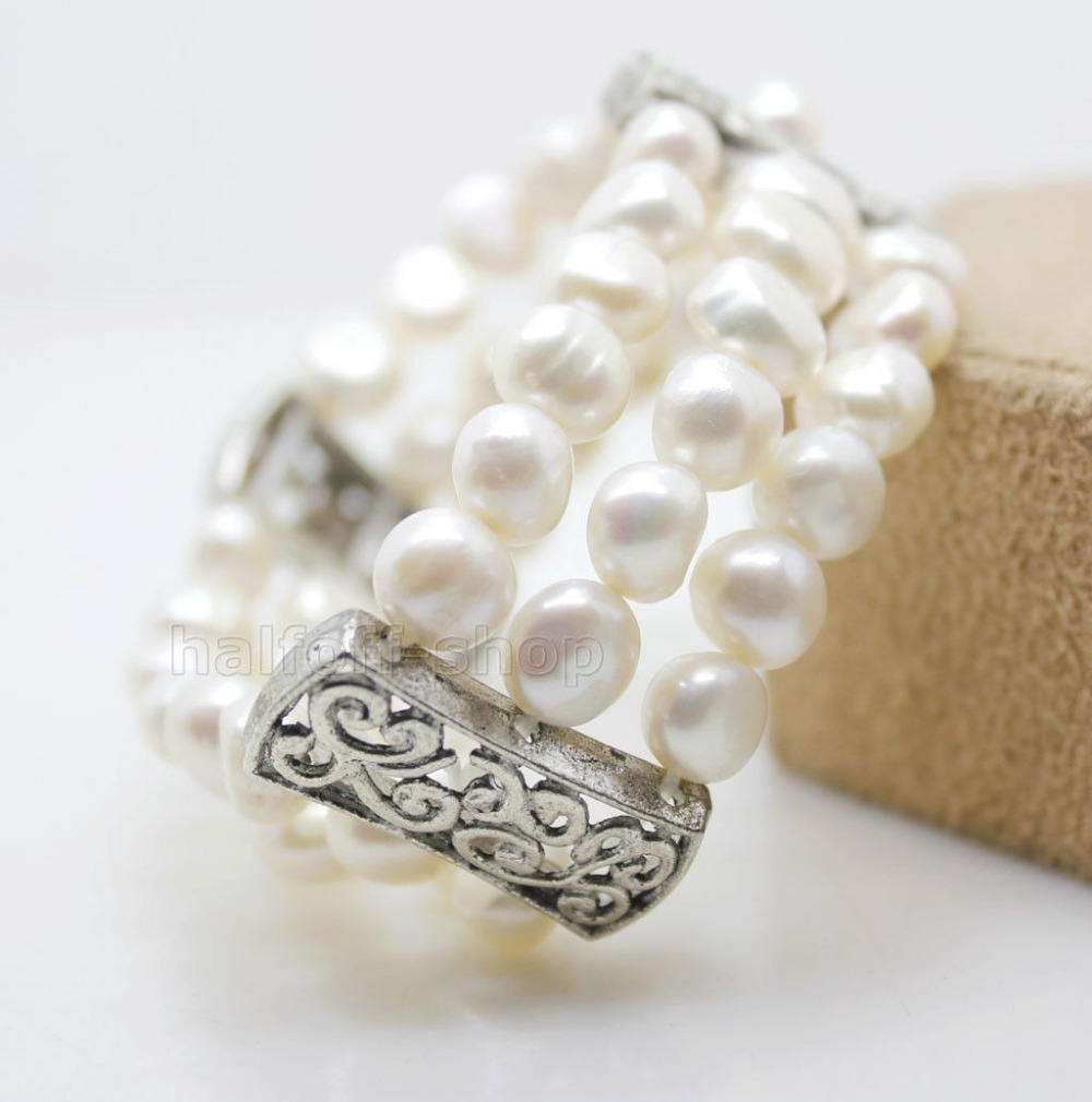 FASHION JEWELRY WHOLESALE WHITE BAROQUE PEARL BRACELET TIBET STYLE @^Noble style Natural Fine jewe SHIPPING 6.2 6.02
