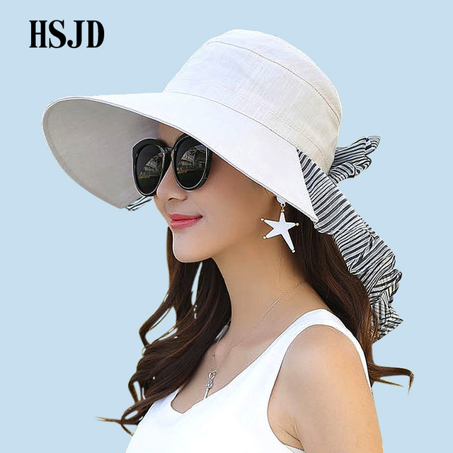 1bcf524391e Summer Wide Brim Anti-UV Women Cloth Sun Hat 2018 New Chiffon Bowknot  Protect The Neck Beach Hats Female Outdoor Travel Hat