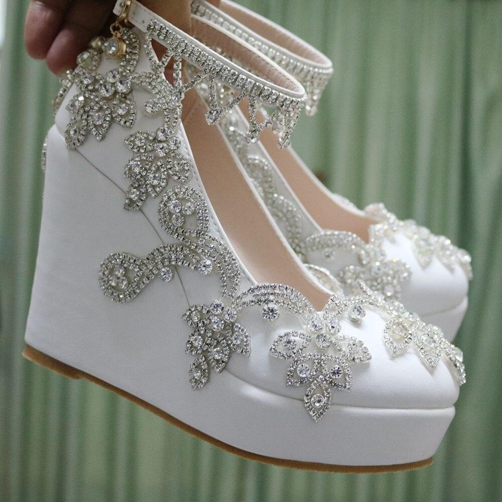 Fashion rhinestone wedges pumps heels wedding shoes for women white ...