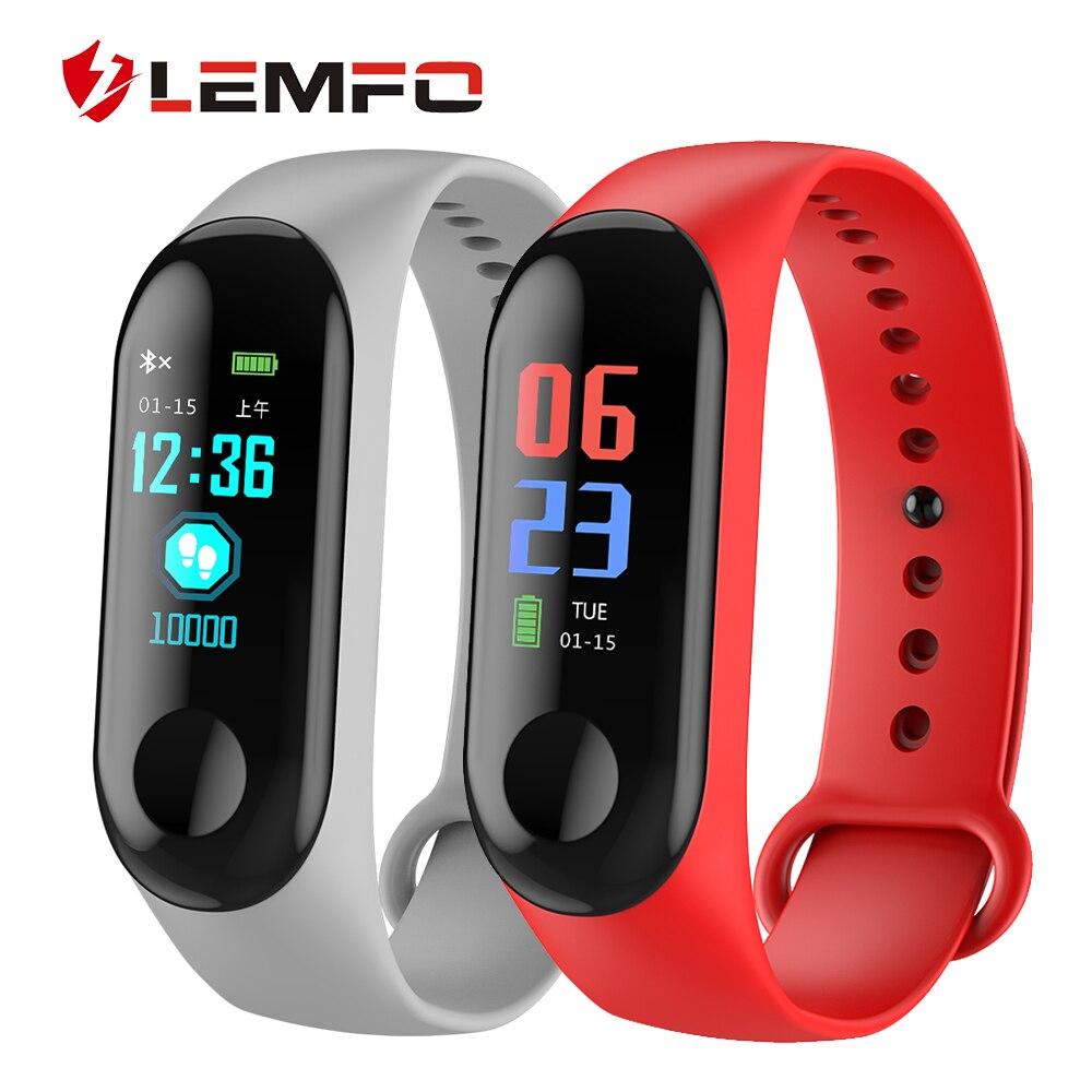 Gimnasio reloj pulsera IP68 impermeable de la presión arterial de oxígeno en la sangre de LEMFO pulsera inteligente para hombres y mujeres