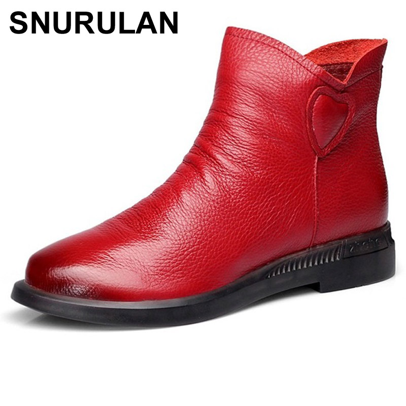 SNURULANBritish Style Genuine Cow Leather Women AnkleBoots Autumn Fashion Pleated Zipper Short Boots Women Flats MartinShoesE021