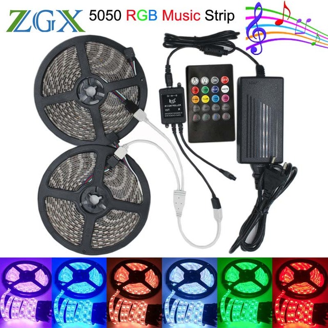 SMD 5050 Music synch RGB LED Strip light 5M 10M 60led/m Flexible Decor ribbon tape lamp 20 Key IR controller DC 12V adapter set
