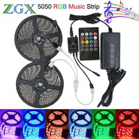 SMD 5050 Music synch RGB LED Strip light 5M 10M 60led/m Flexible Decor ribbon tape lamp 20 Key IR controller DC 12V adapter set