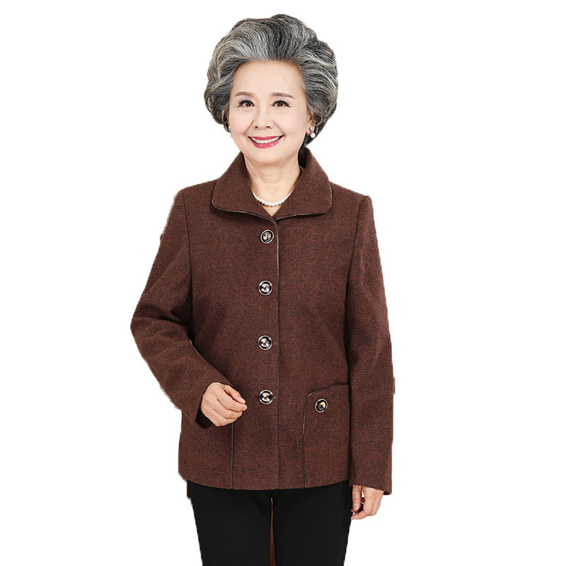 Waeolsa Grandma Autumn Basic Jackets Red Black Green Brown Blend