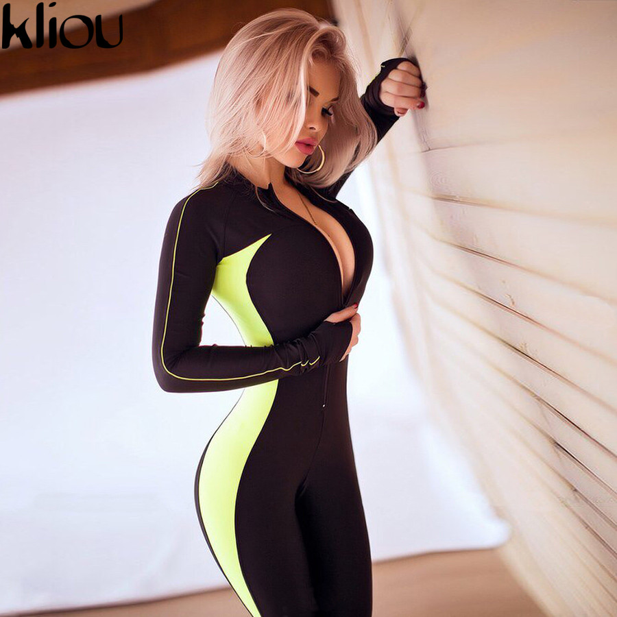 Kliou Fluorescent color patchwork female push up fitness   jumpsuits   2018 autumn winter women full sleeve zipper turtneck   jumpsuit