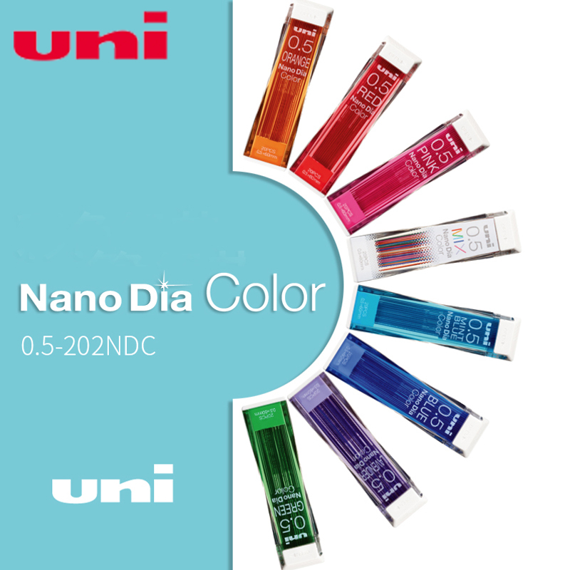 Japan Uni Nano Dia Color 0.5-202NDC Colored Mechanical Pencil Leads Refills 0.5mm Writing Supplies 202NDC