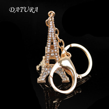 Fashion rhinestone  gold iron tower  pendant quality chic Car key chain ring holder Jewelry  for women.