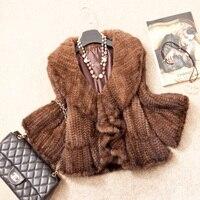 Autumn Winter Women's Genuine Real Knitted Mink Fur Jacket Ruffle Collar Lady Short Coat Female Outerwear VK1370