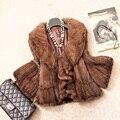 Das Mulheres do outono Inverno Genuine Real Malha Mink Fur Jacket Ruffle Collar Lady Casaco Curto Feminino Outerwear VK1370