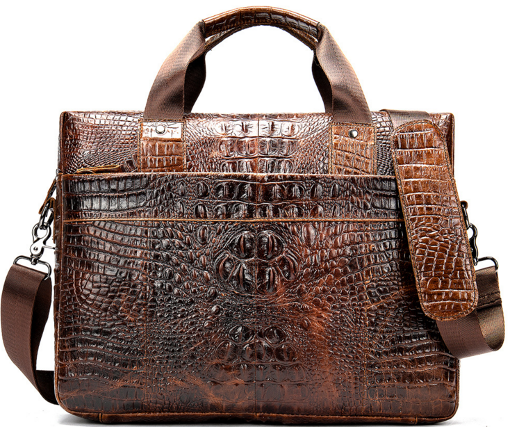 Retro Crocodile Pattern Men Genuine Leather Briefcase Crossbody Shoulder Cowhide Laptop Messenger Bag Business Handbag D251