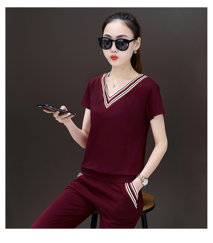 2018 Short sleeve cropped pants women summer clothes woman tracksuit 2 piece summer setspiece short set women
