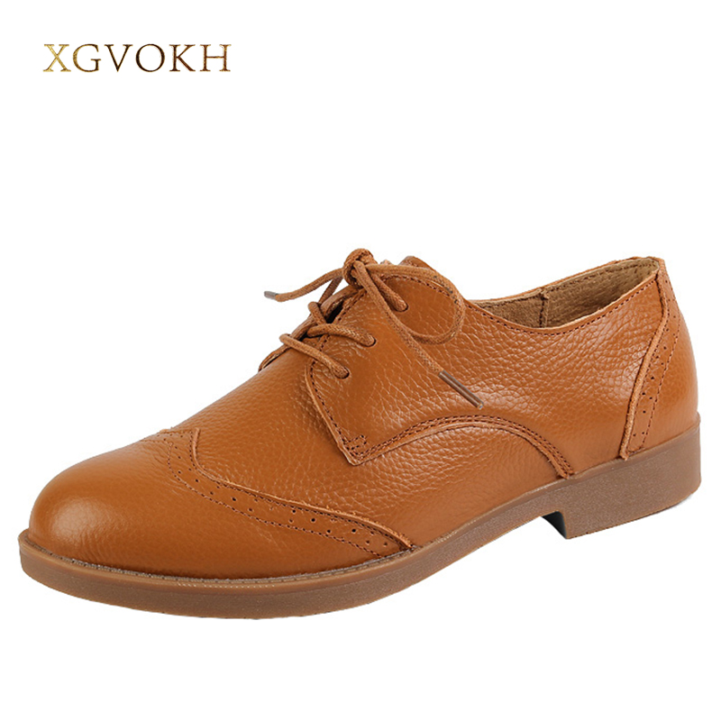 XGVOKH Women Oxfords Shoes Genuine Leather Round Toe Spring Autumn Solid Flats Woman zapatos mujer 2017 new handmade women flats genuine leather oxfords shoes woman fashion ballets flats casual moccasins for women sapatos mujer