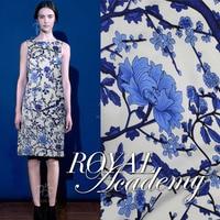 1Meter Lot 110CM Width Silk Elastic Satin Blue And White Print Porcelain Design Fabric Material For