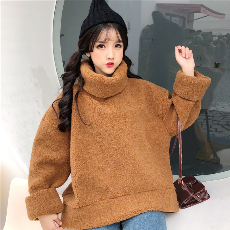 Lovely Cutey Sweatshirts Women 2018 Soft Hairy High-Neck Outerwear Thickened Clothe Loose Female Casual Student Coat Warm Girls