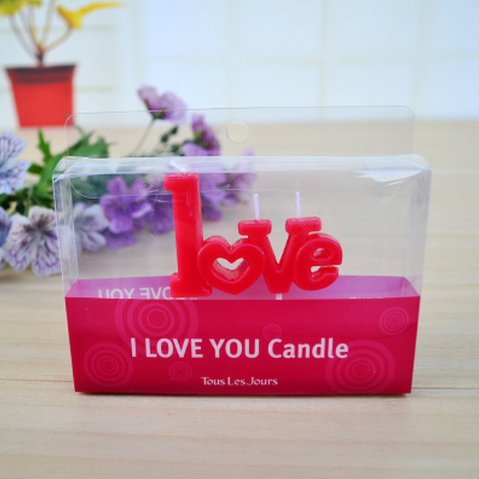 1 Set Red LOVE Shape Birthday Candles Children Lovers Couples Party Candles Wedding Party Show Gifts