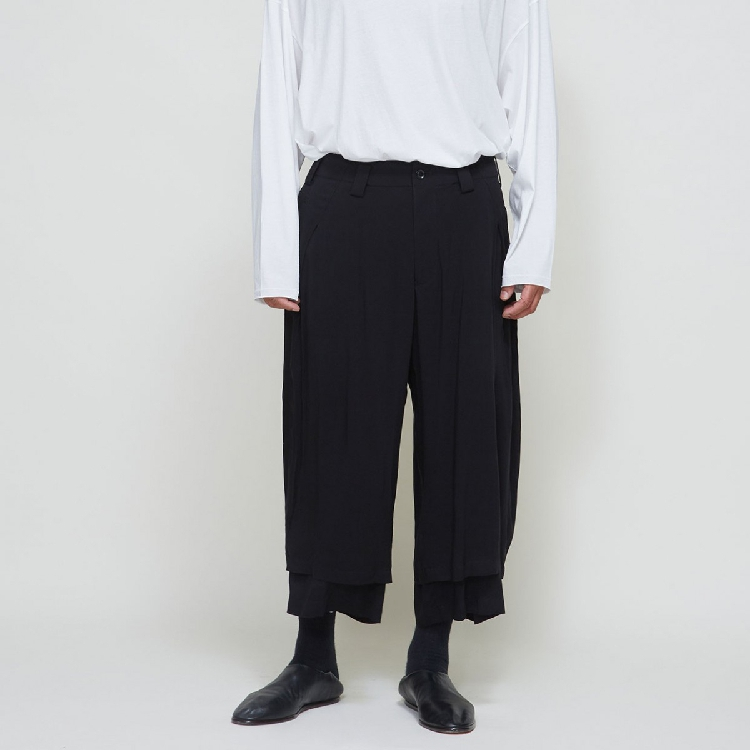 S-6XL!!2019 Men's Casual Wide-leg Trousers Nine Minutes Double Thin Summer