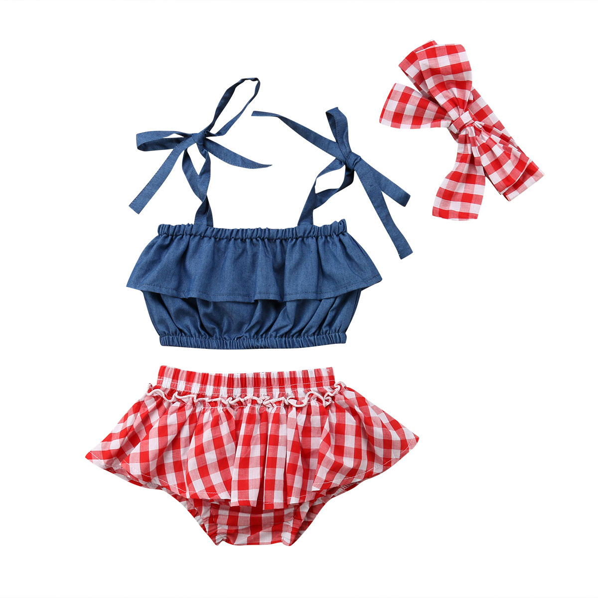 3Pcs Baby Girl Plaid Outfits Toddler Kids Sleeveless Tops+Lattice Shorts+Headband Clothes