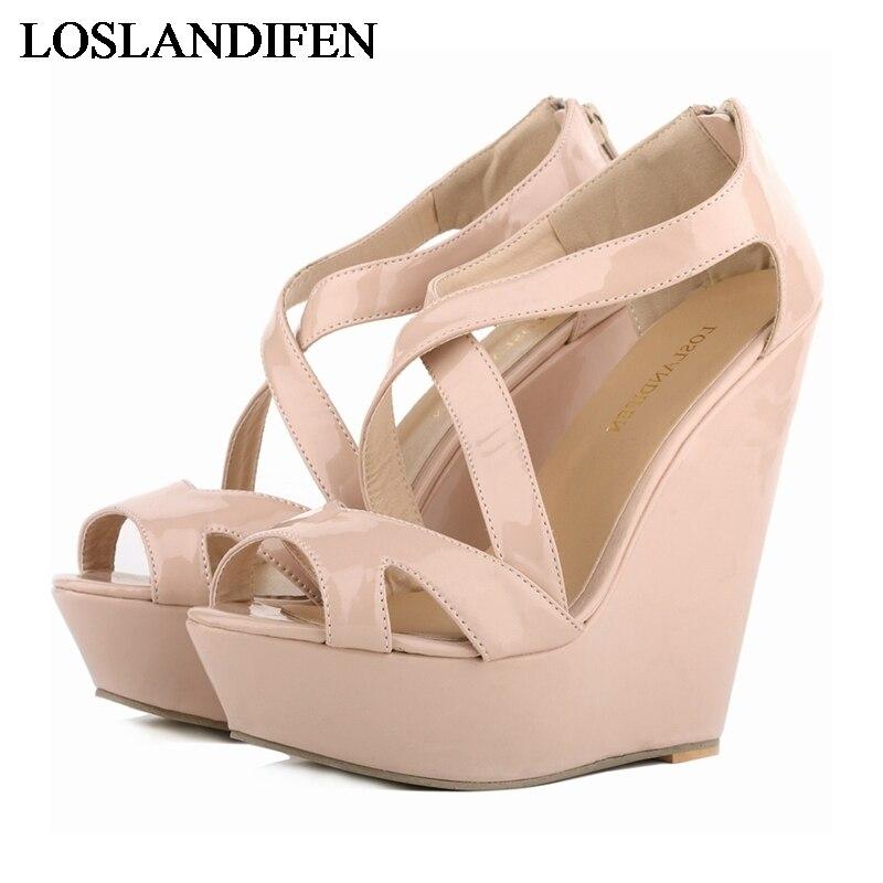 Women Sandals 2018 Summer New Open Toe Fashion Platform High Heels Wedge Sandals Female Shoes Woman Shoes NLK-B0102
