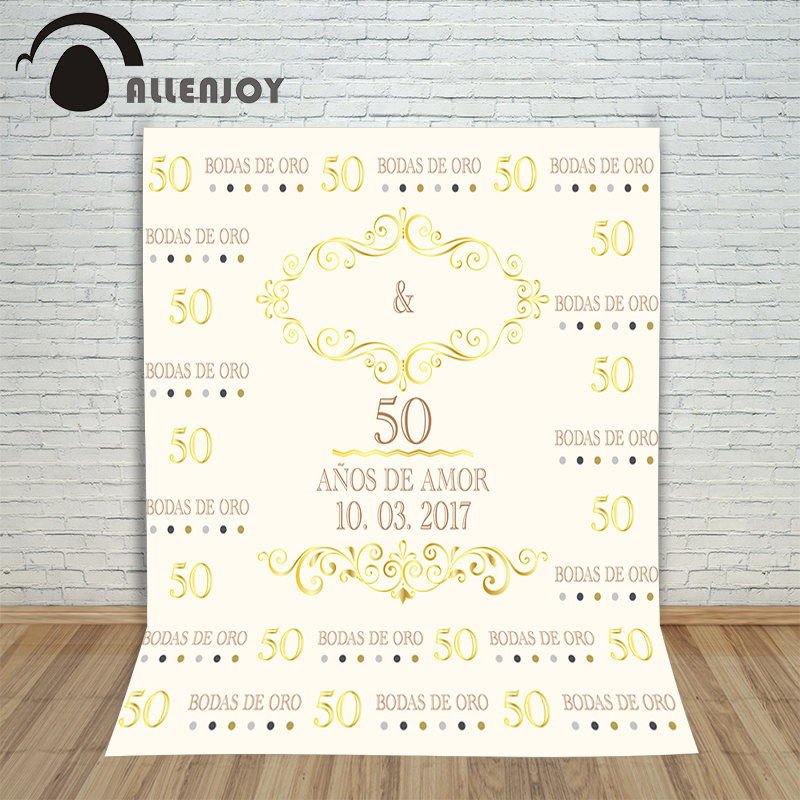 Allenjoy photography background Noble gold ivory white backdrop anniversary custom information birthday Photocall for weddings