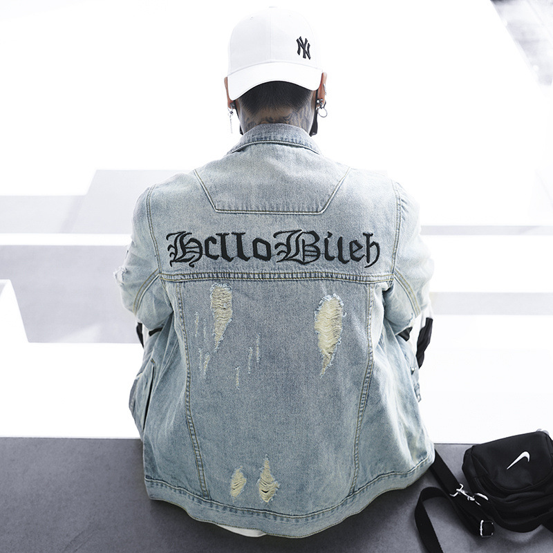 Street fashion men's denim jacket Gothic embroidered wash loose denim jacket