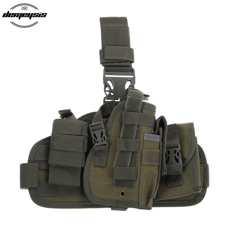 Detachable Thigh Leg Airsoft Pistol Gun Holster with 2 Magazine Pouches for Glock 17 19 23 32 36