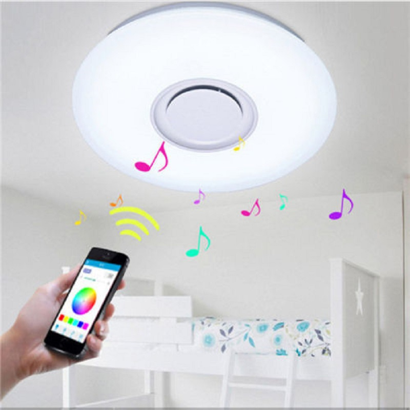 New Modern 24w 36w Led Ceiling Light Music Playing Fixture Bluetooth Speaker App Control Smart Home Party Lighting Lampara Techo Elegant In Style Ceiling Lights & Fans